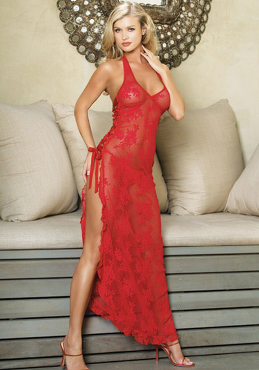plus size s 6xl women's red long dress night wear sexy nightgown