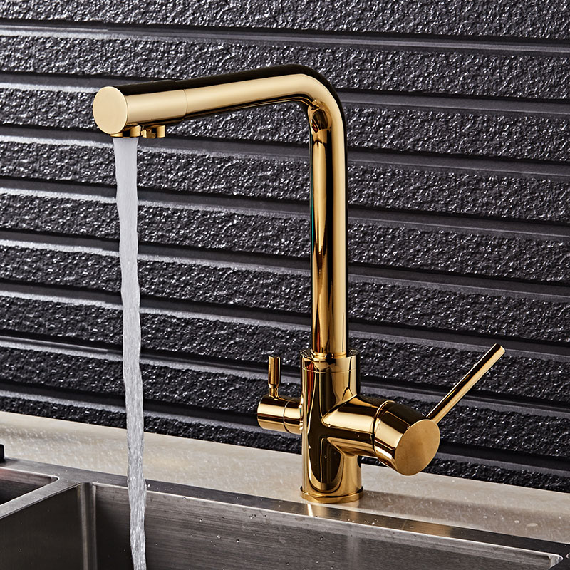 Basin Faucets Gold Polished Brass 360 Degree Rotation Kitchen Sink Faucet Double Handle Wa