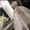 Romantic Strapless Crystal Appliques Bridal Dresses 2016 Ball Gown Lace Wedding Dress Vestidos De Noiva Com Foto Real