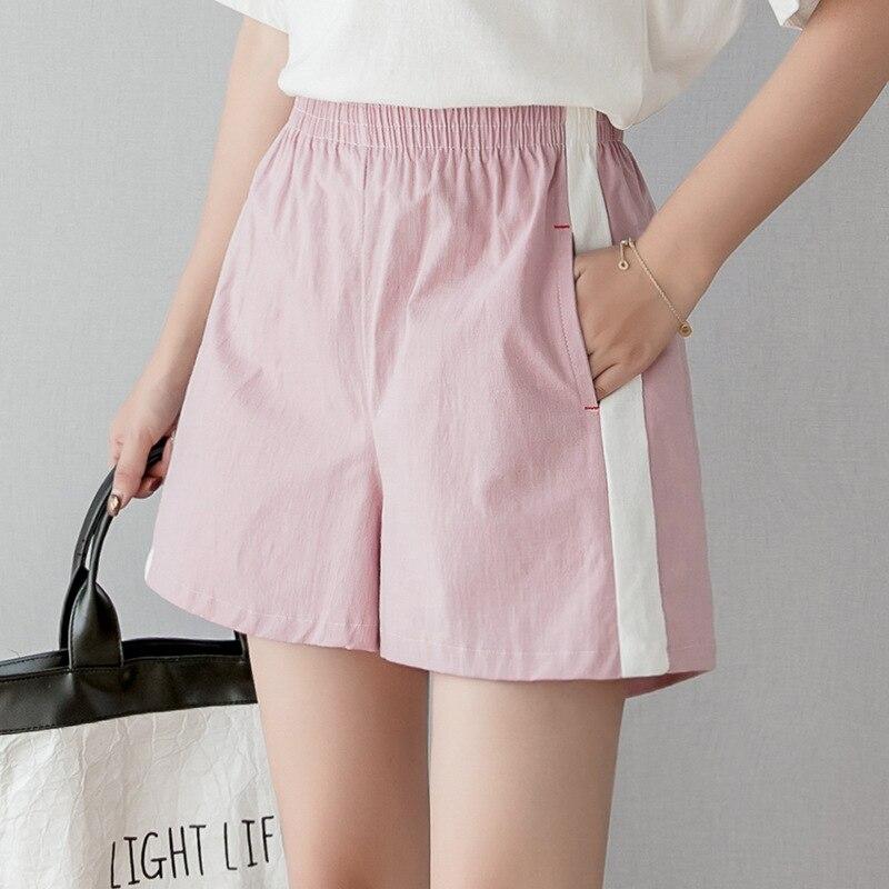 Cotton Linen Short Pant Women Summer New Loose Casual Wide Leg Shorts Student Home High Waist Running Sport Thin Shorts Feminino
