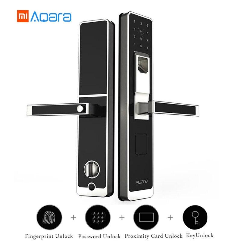 Original Xiaomi Aqara Smart Door Touch Lock Live huella dactilar desbloqueado + contraseña 4 en 1 desbloquear el Control del teléfono de la aplicación para la seguridad del hogar