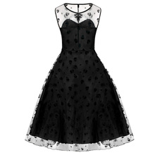 Retro Women Vintage Style Sleeveless Mesh Embroidery Long Cocktail Party Dresses Flower Skull Ball Grown Party Femme Robe