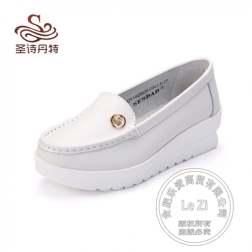 Chunky Heel Comfortable Platforms Korean Low Cut Uppers Pregnant Creepers Genuine Leather Nurse font b Women