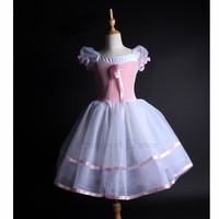 Brand Girls Puff Sleeve Professional Velvet Long Ballet Tutu Dress Children Princess Dance Costume DB92