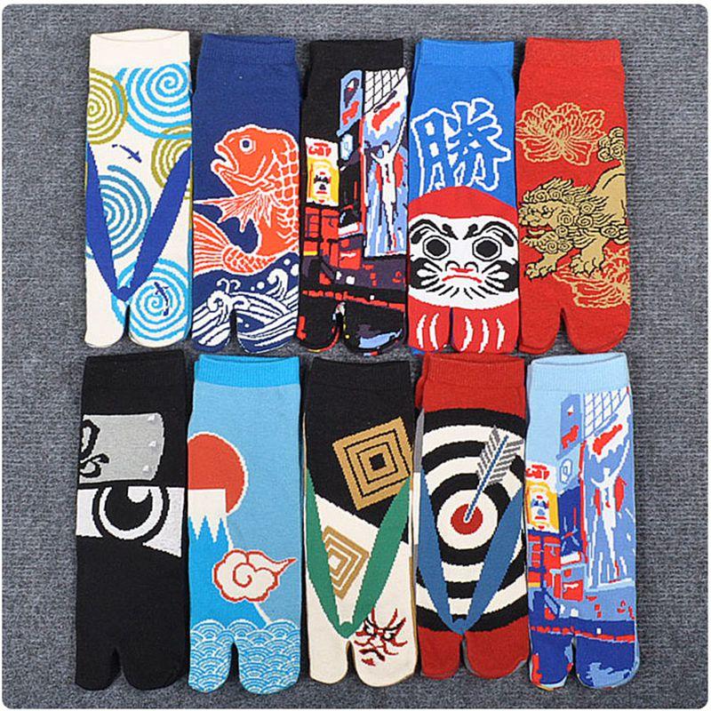 Men Unisex Two Finger Socks Japanese Style Cotton Toe Socks Samurai Split Toe Socks Foot Bag Short Geta Flip Flop Socks AAA0599