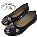 Plus size 42 Vintage Embroidery Women Shoes Flats Old Peking Flower Embroidered Canvas Linen Shoes Sapato Feminino Single Shoes