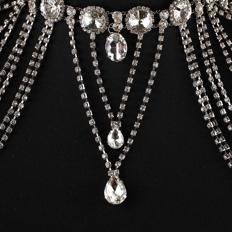 JaneVini 2018 luxueux cristal mariée épaule chaîne Bling strass collier de mariage femmes épaule gland chaînes bijoux - 2
