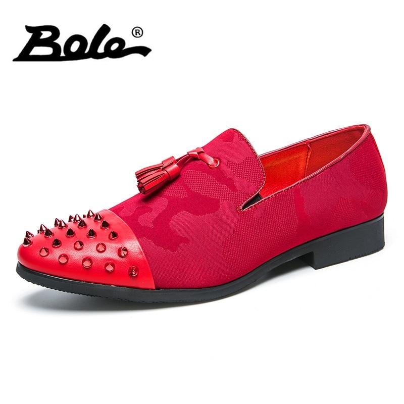 BOLE Large Size 38-45 Men Dress Shoes Fashion Slip on Men Formal Leather Shoes High Quality Short Heel Heighten Shoes Men