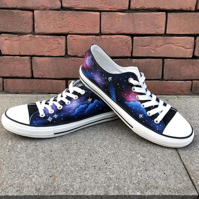 c9d30f2e9ffd Wen Original Hand Painted Shoes Design Custom Stars Blue Galaxy ...