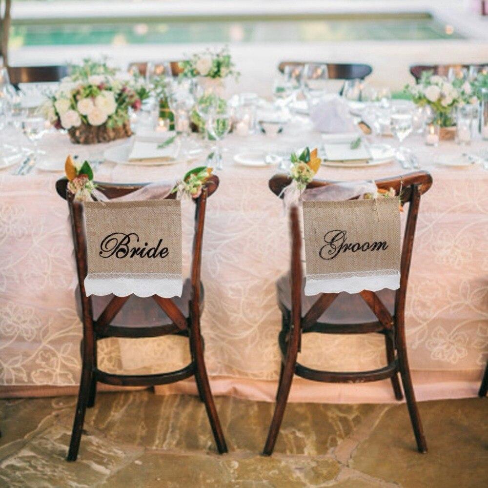 OurWarm Vintage Wedding Decoration Groom Bride Chair Sign 22x22cm ...
