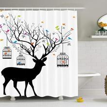 Conjunto de cortina de ducha con decoración de cuernos, ciervo con pájaros coloridos y jaulas de pájaros, decoración de silueta, Estilo Vintage, accesorios de baño