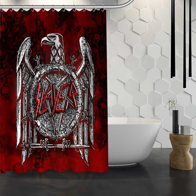 Custom Slayer Logo Shower Curtain With Hooks Polyester Fabric Printing For Bathroom Waterproof