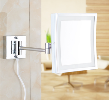 Silver Framed Mirrors   Fashion Led Makeup Mirror Creative Simple Bathroom Stainless Steel Magnifying Folding Mirror Personality Makeup Mirror Q430