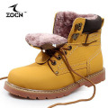 ZOCN Unisex Winter Genuine Leather Boots Women Military Boots Slip On Shoes For Women Fur Boots Zapatos Hombre 3 Colors 35-46