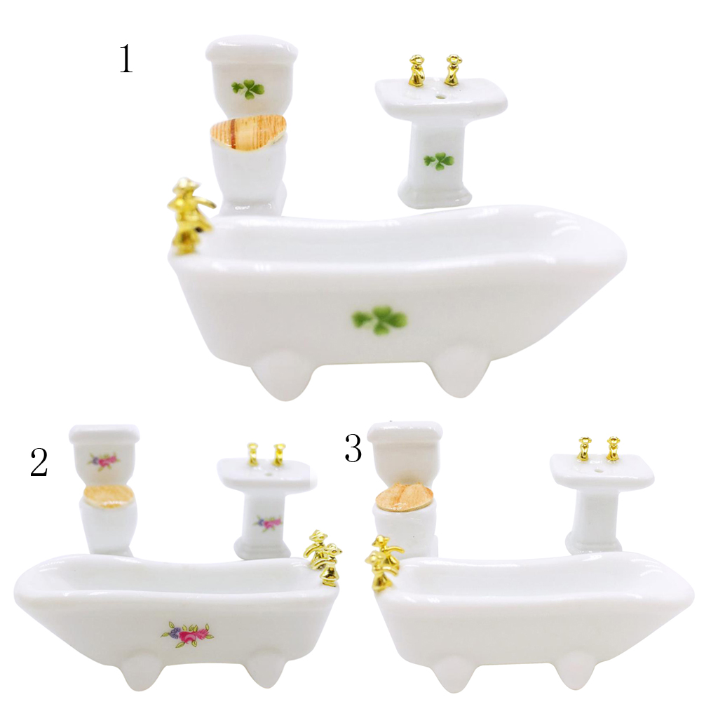 MagiDeal 1/24 Dollhouse Miniature Bathroom Set Ceramic Bathtub Toilet for Dolls House Furniture Play Toy 3kinds