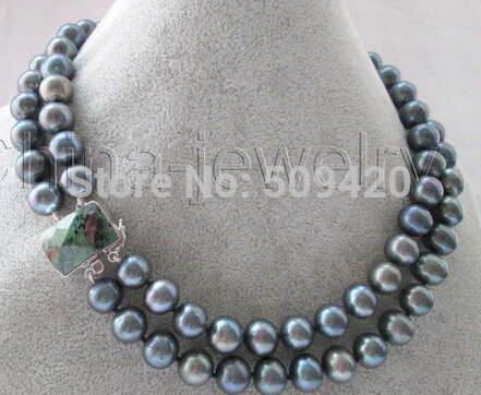 """W&O656 >>Beautiful AA 17-18 """"2row 12mm black round freshwater pearl necklace - 925 silver"""