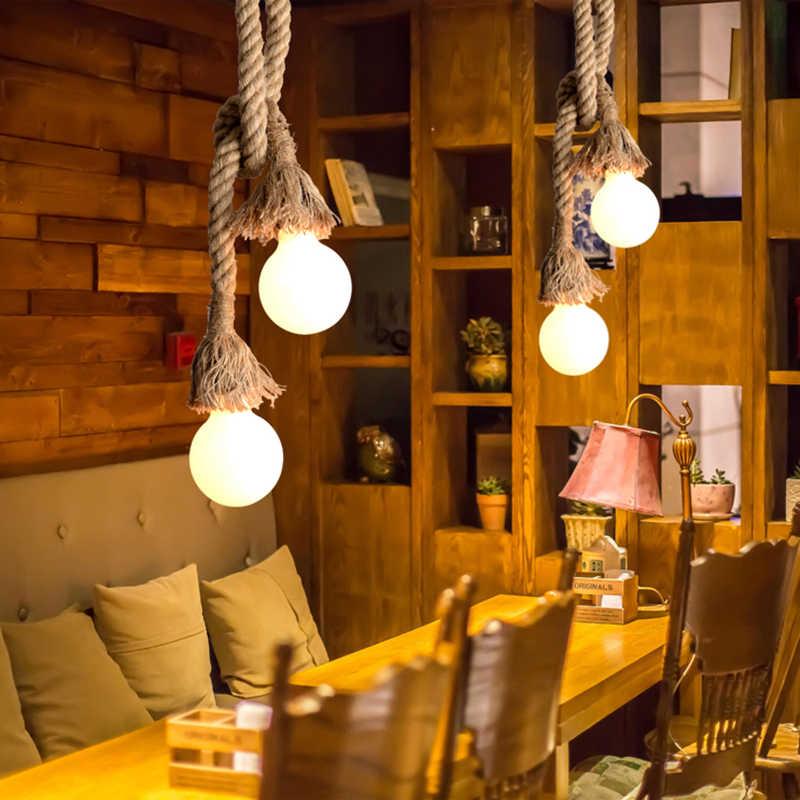 Винтажный пеньковый Ретро тесьма подвесной светильник E27 Лофт lamparas de techo colgante современный подвесной промышленный Декор подвесной светильник