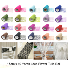 15cm*10Y  Lace Flower Tulle Roll Table Cloth Bowknot DIY Birthday Wedding Christmas Decoration Party Supplies