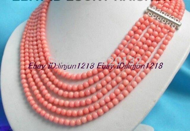 Bijoux pour femme naturel! Collier de perles de corail rose nature ronde 6row 17-22 ''gros crochet en argent livraison bijoux en argent