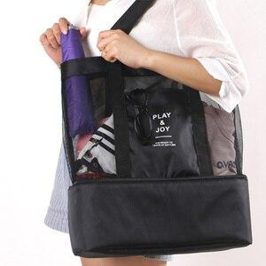 عالية قدرة المرأة شبكة حقيبة بلاستيكية شفافة مزدوجة-طبقة الحرارة الحفاظ كبيرة نزهة حقائب الشاطئ النساء حقيبة الكتف 2019 الصيف