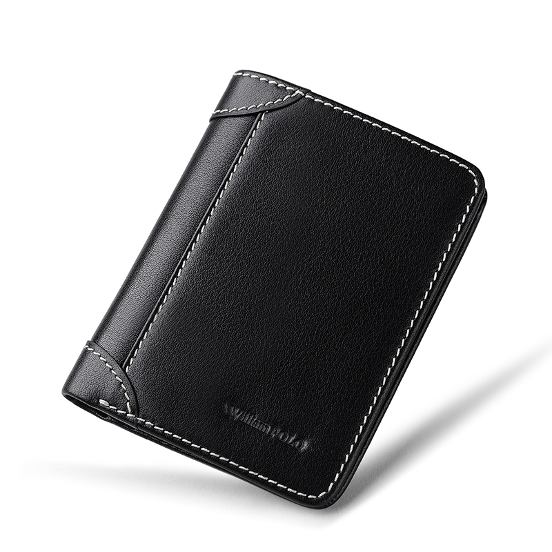 WilliamPOLO Vintage Slim Mini Wallet Men Genuine Leather Purse Short Cowhide Pouch 2018 Minimalist Design Male Purse Mini Thin