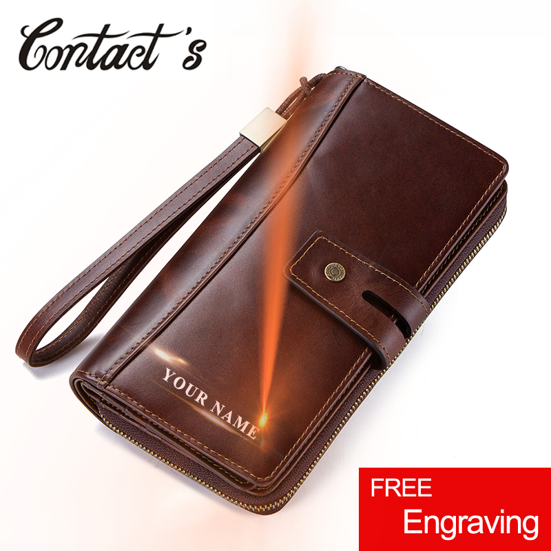 Men Clutch Wallets Casual Genuine Leather Wallet Long Style Zipper Coin Purse With Card Holder Large
