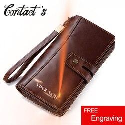 Männer Kupplung Geldbörsen Beiläufige Echtem Leder Brieftasche Langen Stil Zipper Geldbörse Mit Karte Halter Große Kapazität Für handys