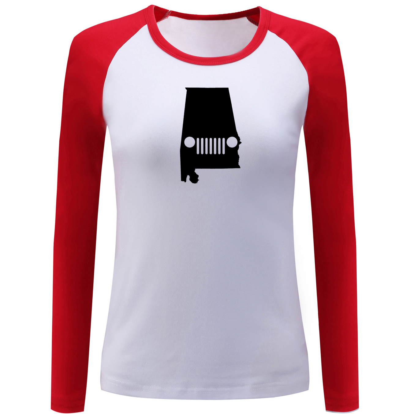 iDzn Fashion Womens Raglan T Shirt Alabama Jeep Creative Design Long Sleeve T-shirt Lady Girl Casual Tops for Christmas Gift