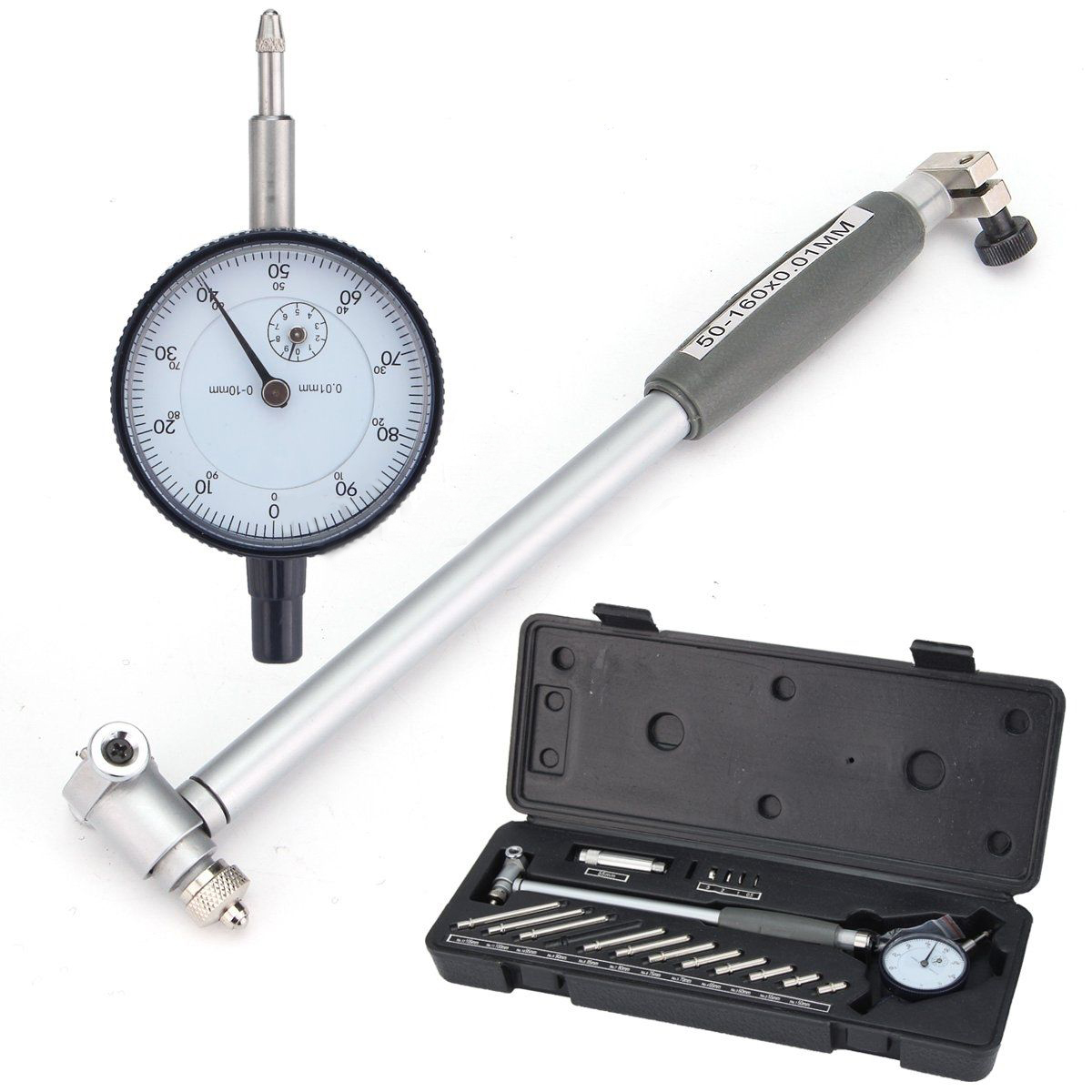 1Set Dial Bore Hole Diameter Gauge Metric 50mm-160mm Engine Cylinder Measuring Indicator Gage Kit with Box shan dial bore gauge 50 160mm 0 01mm metric cylinder internal bore measuring gage dial indicator measuring tools
