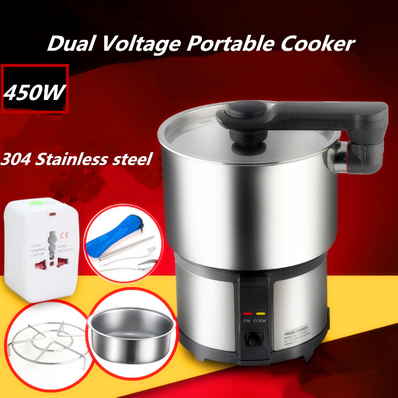 110V/220V Dual Voltage Travel Cooker 304 Stainless Steel Portable Mini Electric Rice Cooking Machine Hotel Student Multi Cookers cukyi household electric multi function cooker 220v stainless steel colorful stew cook steam machine 5 in 1