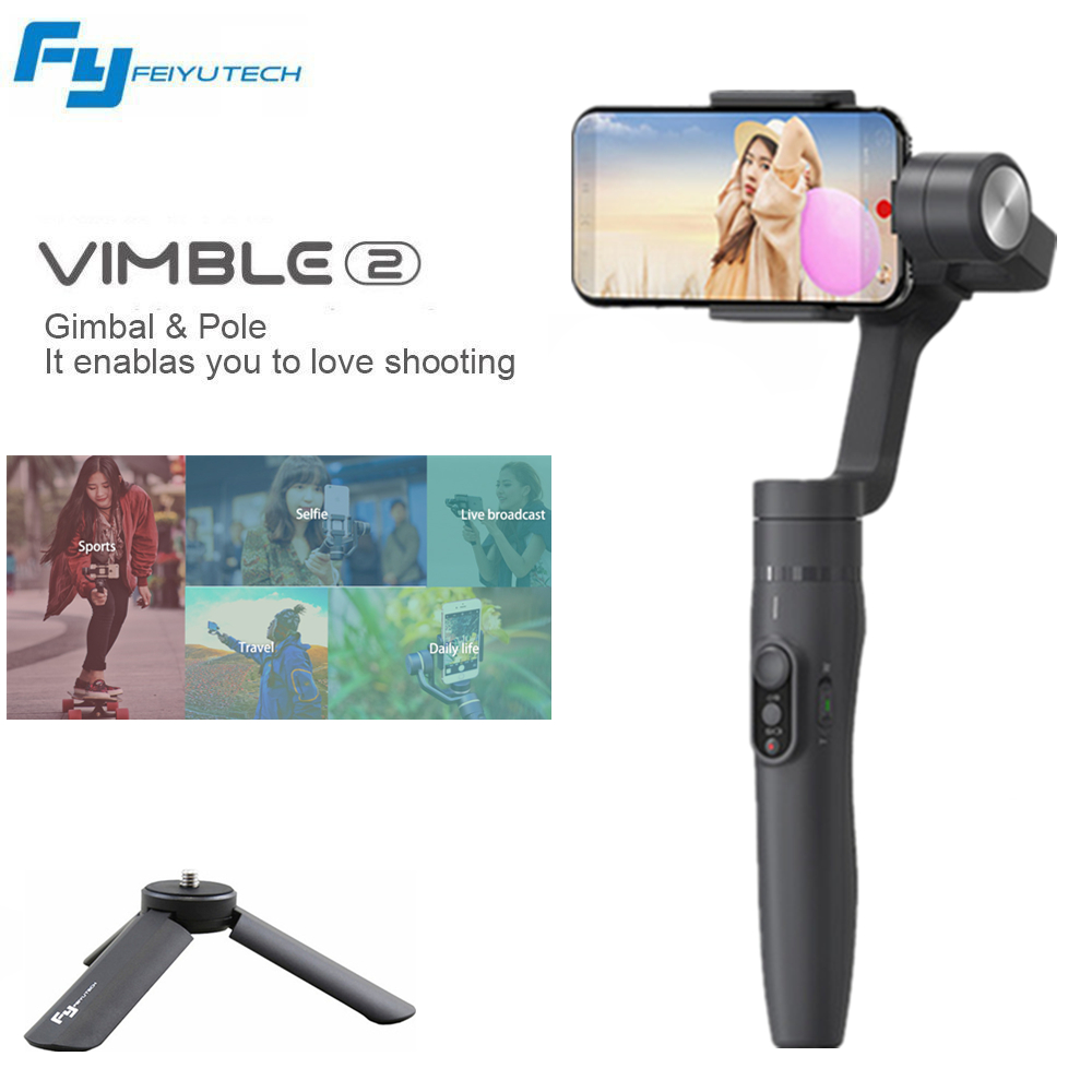 FEIYU Vimble 2 3-Axis Smart Handheld Stabilizer Adjustable Selfie Stick For GoPro Sports Camera iphone 8 7 6 s xiaomi Samsung oem selfie app iphone samsung gopro for phone and camera