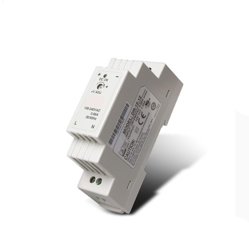 DR-15 15W Single Output 5V 12V 15V 24V Din Rail Mounting Industrial Switching Power Supply Supplier