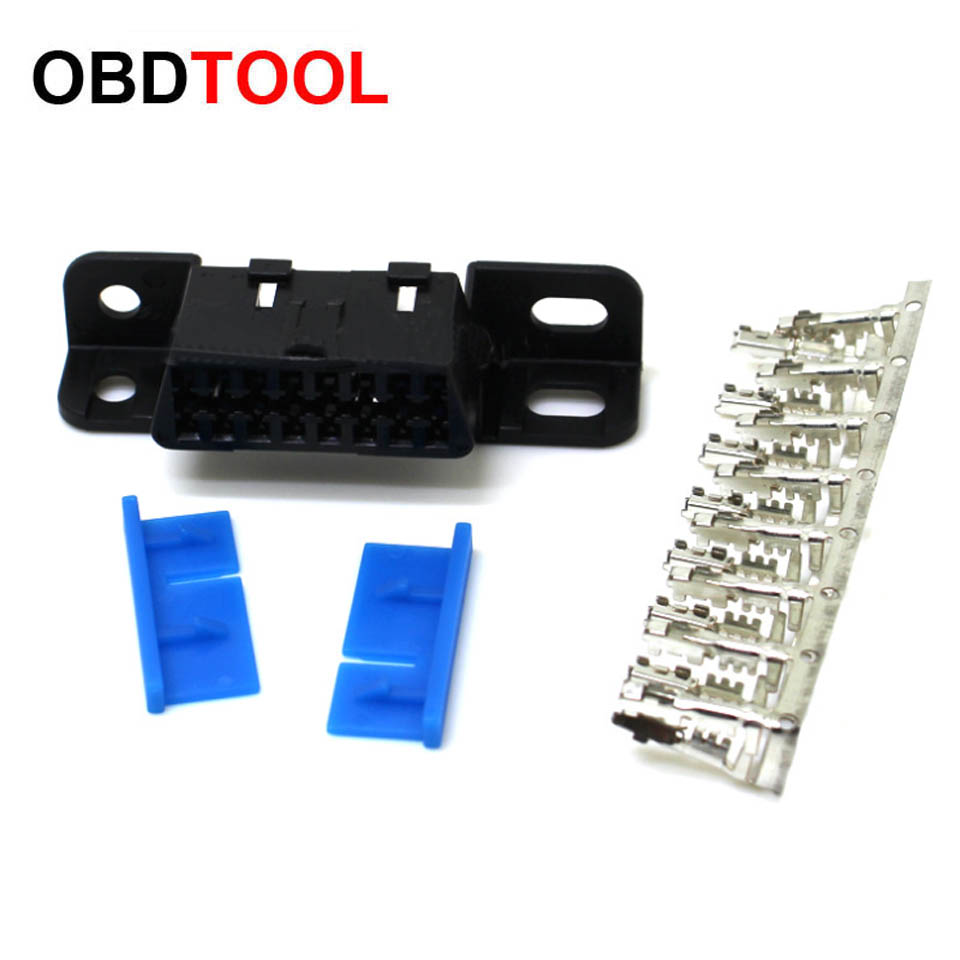 Hot OBDII OBD2 16Pin Female Connector OBD II Female Plug Adapter OBD 2 Connector With Terminal Female Sockets Diagnostic Tools