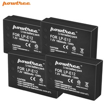 Powtree For Canon 1800mAh 7.2V 4PCS LP E12 LP-E12 LPE12 Camera lithium Battery Replacement EOS M M10 M50 M100 Rebel SL1 Kiss X7