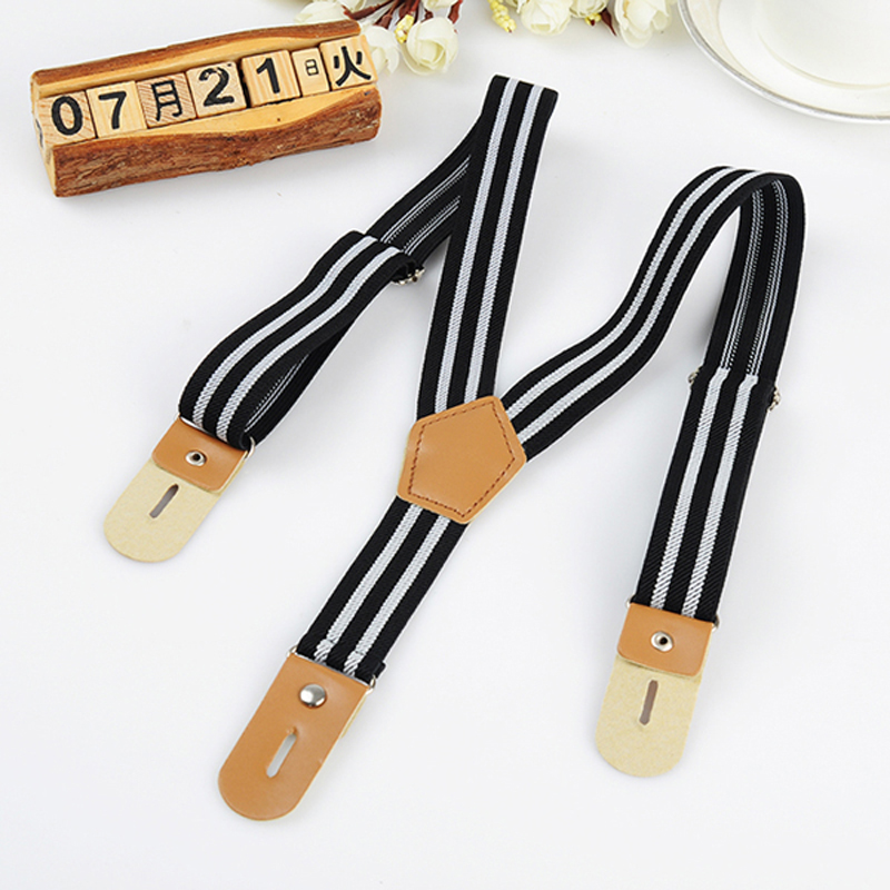 fashion kids Suspenders children pu Leather Braces Six Buttons stripe Suspenders with buttons Clothing Recessionista
