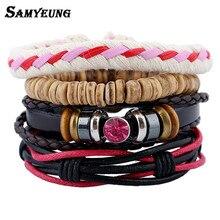 Samyeung Set Sale 4/Pcs Vintage Black Beads Leather Bracelets for Male Believe Men Braslet Braclet Women Pulseras Hombre