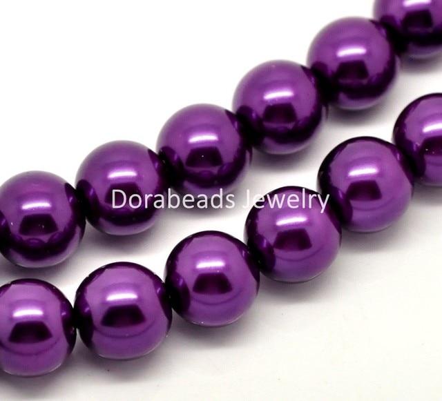 "DoreenBeads Free Shipping! 1 Strand Dark Purple Glass Imitation Pearl Round Beads 12mm(1/2"") Dia. 80cm(34-1/2"") long (B18341)"