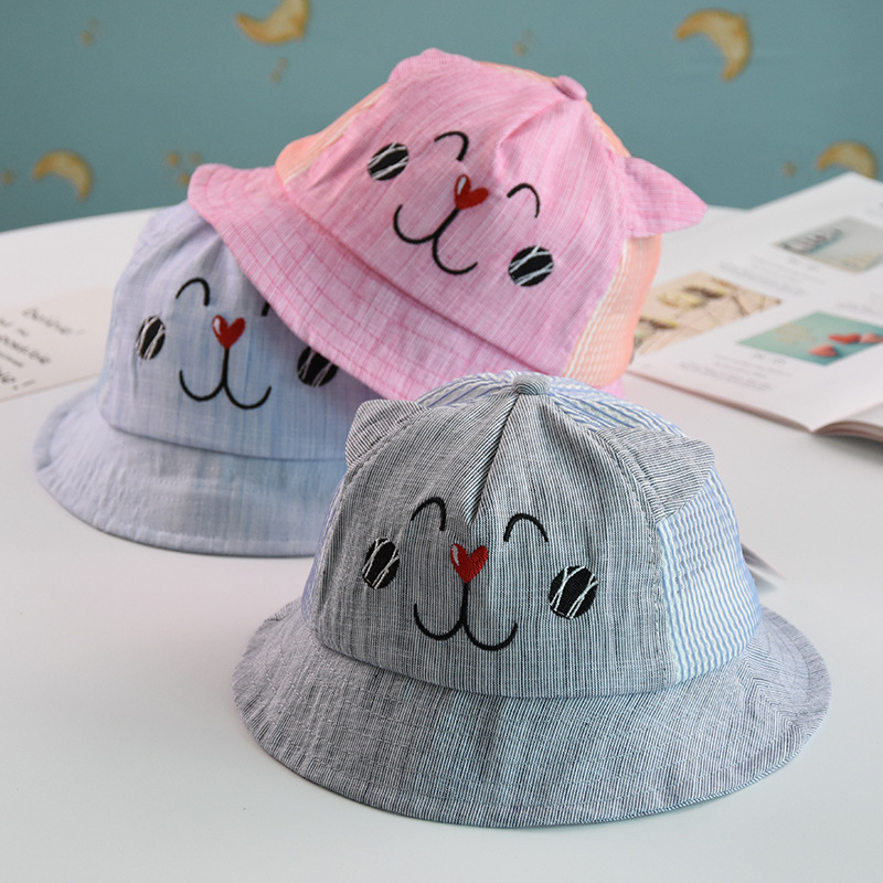 2018 Baby Boy And Girl Hats Summer Children Breathable Basin Caps Baby Sun Visor Cartoon Embroidery Rabbit Kids Fisherman Hat