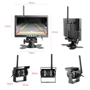 "Image 3 - Podofo אלחוטי מבט אחורי היפוך מצלמה & IR ראיית לילה 7 ""רכב צג ערכת עבור משאית אוטובוס קרוון קרוואן הפוך מערכת"