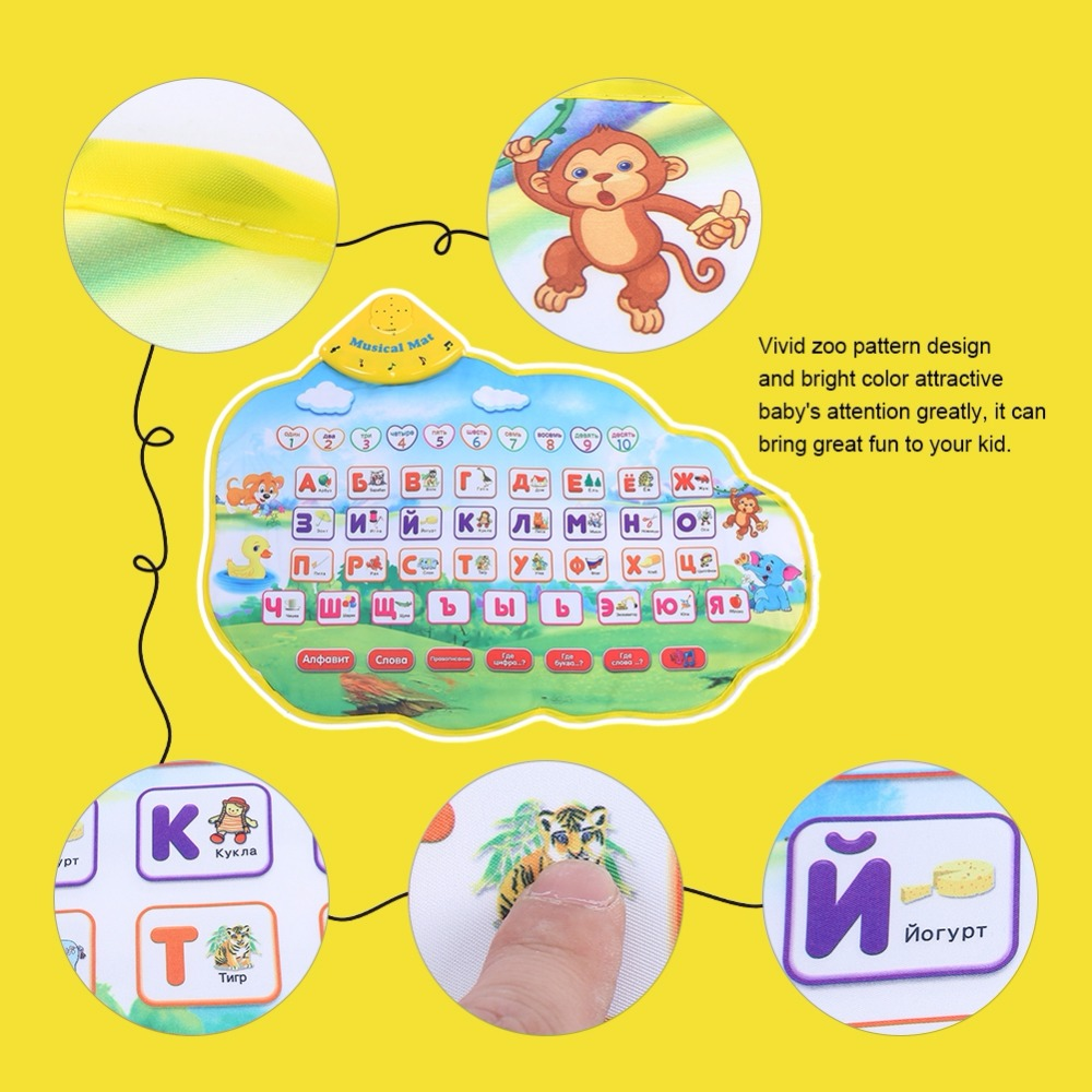 Baby Play Mats Russian Alphabet Kids Playing Mat Music Animal Sounds Toys Electronic Educational Learing Gifts Toys For Children