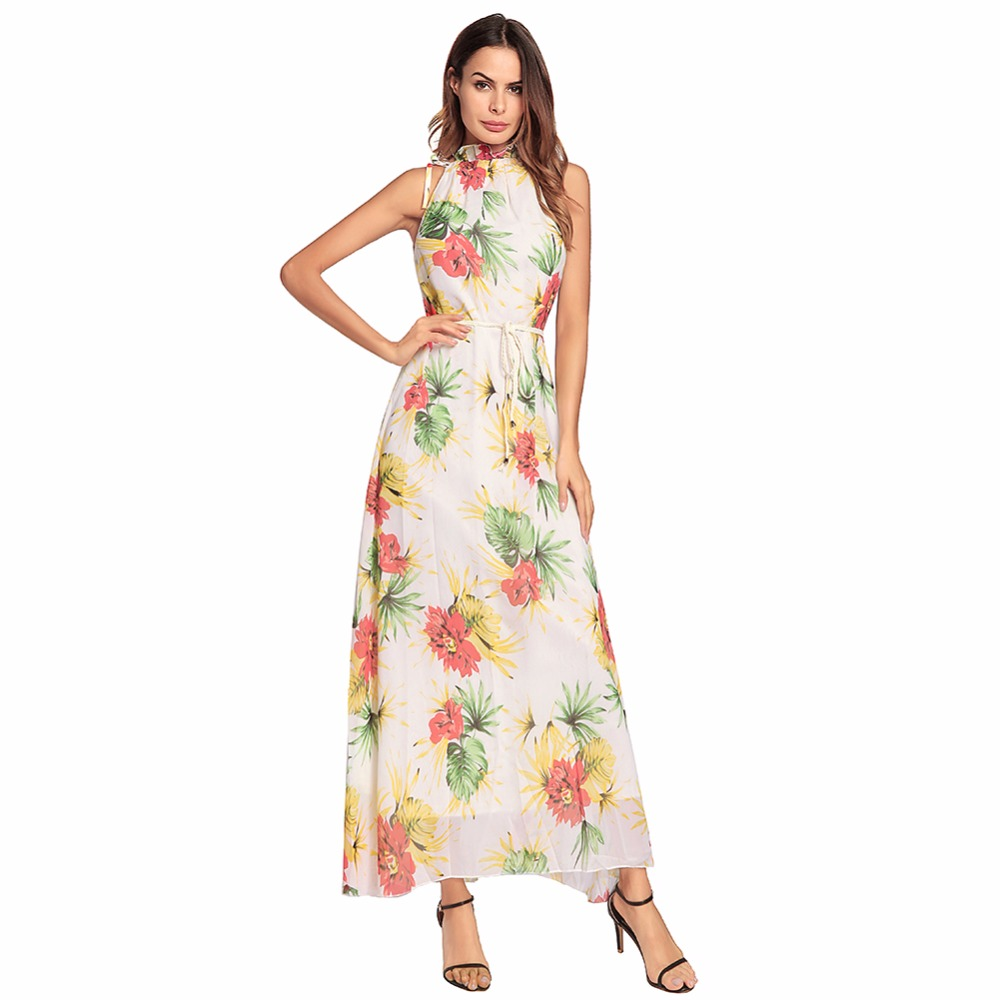 2018 spring  High collar print fasion dress Bohemian style  sleeveless empire dress
