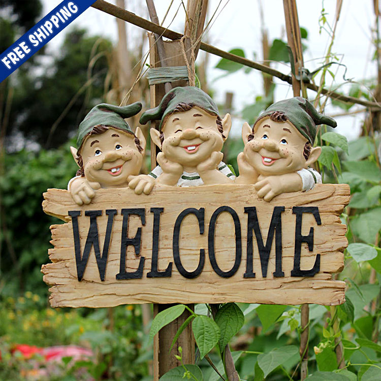 Good Set Of 3 Resin Fairy Welcome Garden Gnome Statue Rustic Crackle Yard Lawn  Ornament Decor Shops Crafts Gifts For New Year On Aliexpress.com | Alibaba  Group