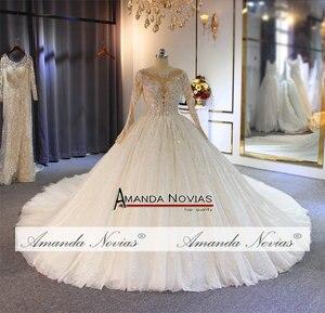 Image 5 - Gelinlik vestido de noche volledige kralen luxe sparkling bling bling trouwjurk amanda novias echte werk