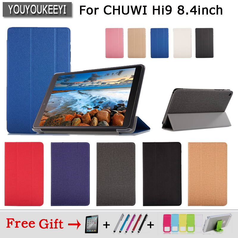 Fashion Ultra Slim Case For CHUWI Hi9 Tablet ,Stand cover Case For chuwi hi9 8.4 inch Tablet PC Protective Cover + 3 free gifts original chuwi hi12 rotating keyboard case protective tablet case removable 12 inch tablet keyboard for hi12 tablet pc stand