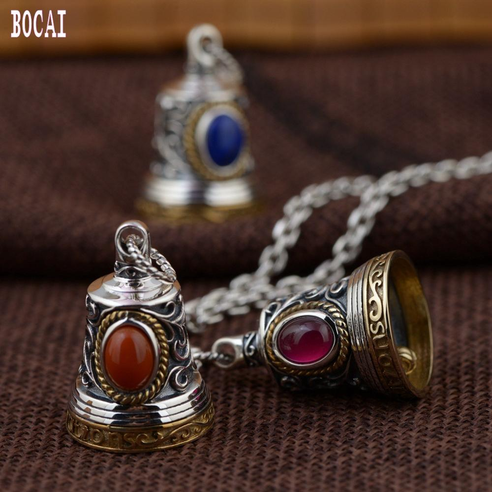 S925 silver jewelry antique craft bell silver pendant handmade DIY accessories 2019 new products Thai silver man's pendant