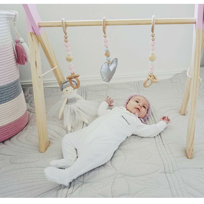 Wooden Baby Activity Gym Frame With Mobiles Newborn Baby Room Decoration Early Education Toys Photo Props
