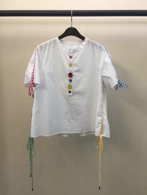 2017 multicolour stripe casual lacing button decoration o neck pullover short sleeve font b shirt b
