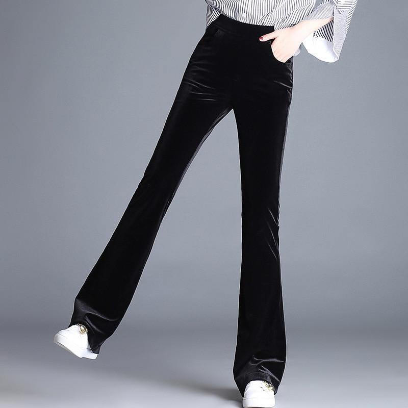 #5519 Autumn Winter Black Elegant Flared Pleuche Trousers Fashion High Waist Plus Size Feminino Velour Pants Pantalon Femme 4XL