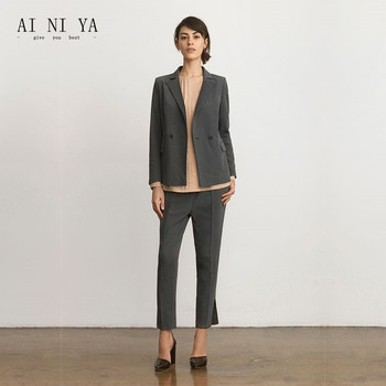 New Gray Womens Professional Business Work Wear Pants suits For Office Ladies Trouser Suit Autumn Winter 2 Piece Sets Custom