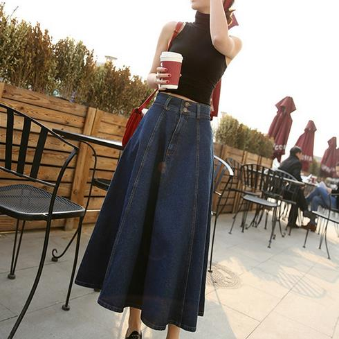 Clobee High Waist Jeans A Line Women Skirt Work Elegant Casual Ladies Long Jupe Lolita School  Mori Girl Denim Saia V191